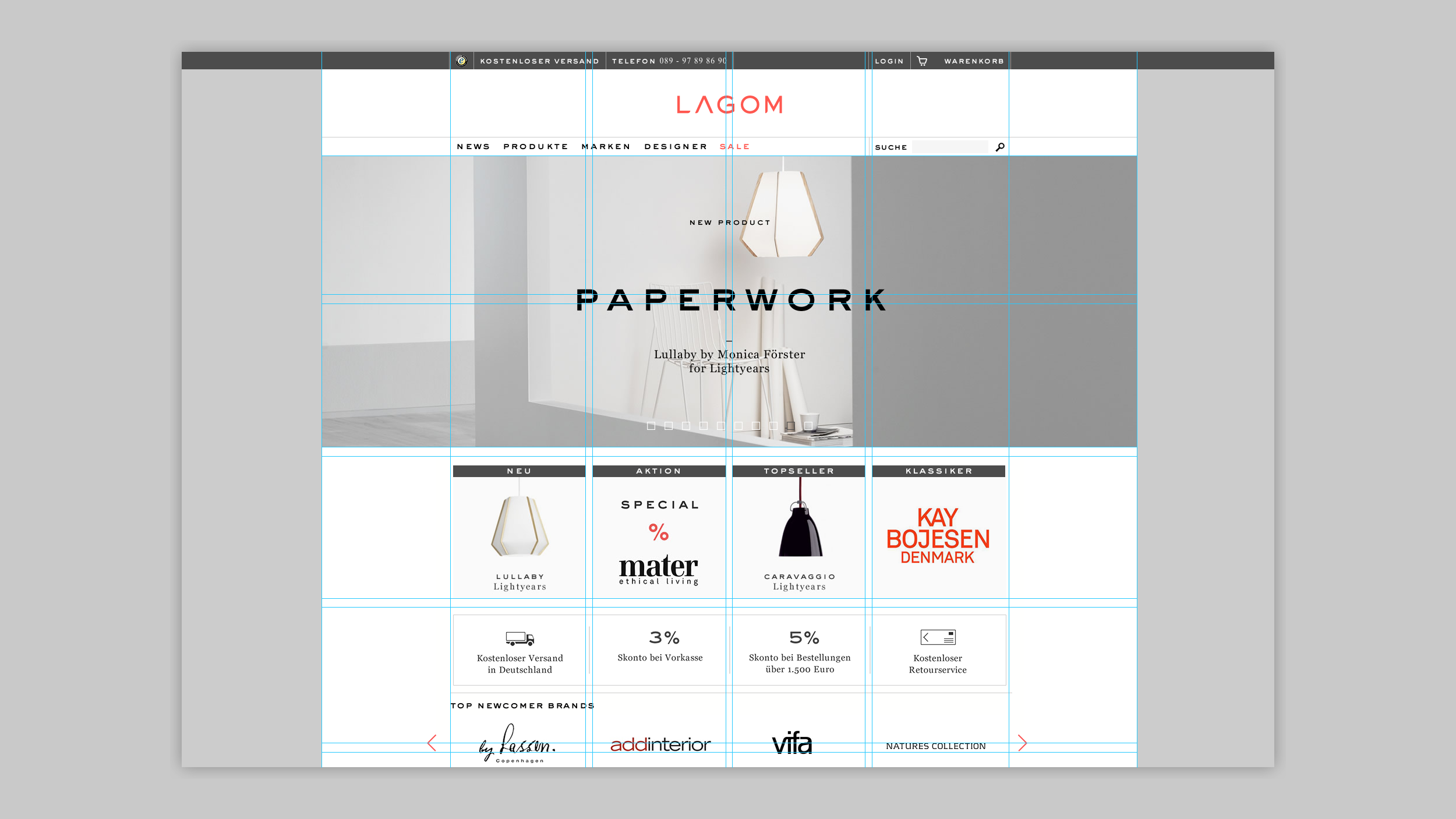 Lagom, Webanwendung, Home, Grid, Aufbau Website