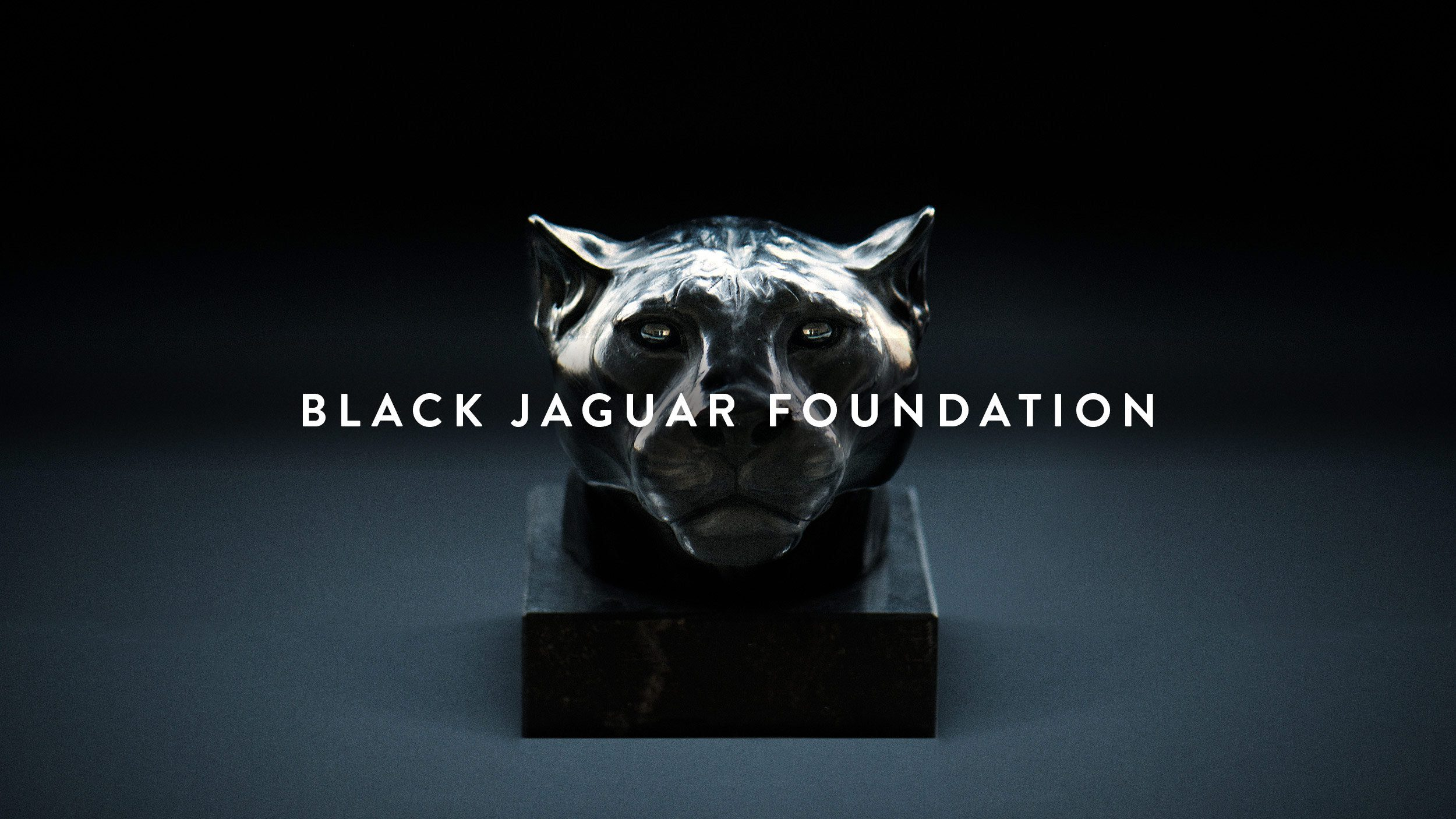 BJF, Black Jaguar Foundation, Keyvisual, Jaguarkopf, Statue